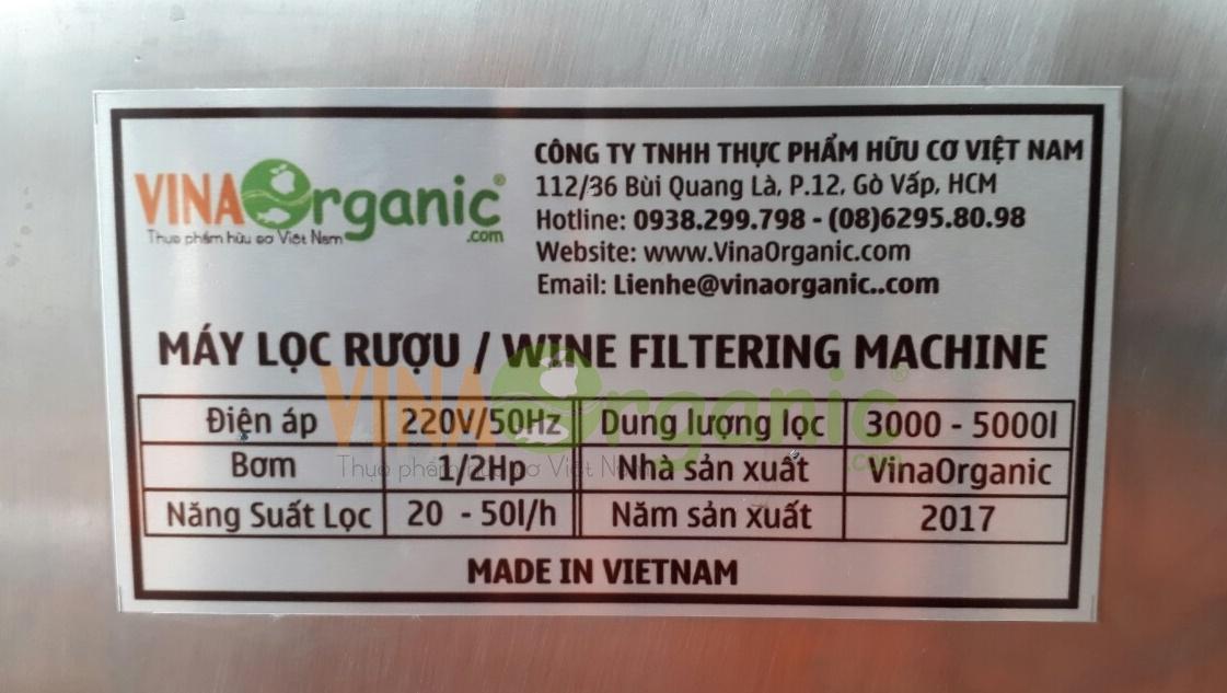 thông số máy lọc rượu vinaorganic