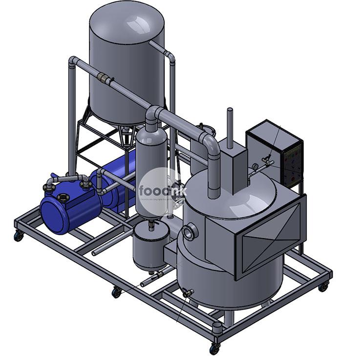 Cấu tạo chính của một hệ thống chiên chân không (trong hình chưa bao gồm ly tâm tách dầu và hệ thống cung cấp khí nén)