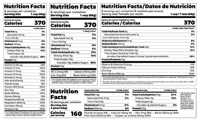 Các bảng giá trị dinh dưỡng (Nutrition Facts) của sản phẩm