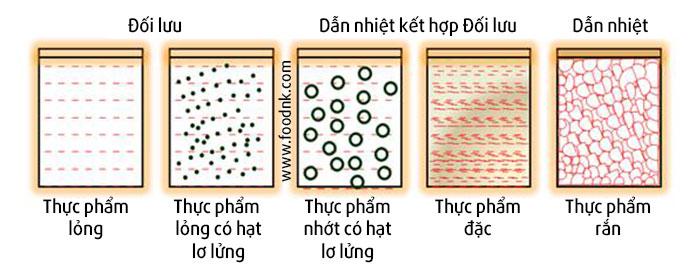 Nhiệt được phân tán trong sản phẩm đóng hộp (đồ hộp) bởi các kiểu truyền nhiệt: đối lưu, dẫn nhiệt, hoặc kết hợp cả hai. Cụ thể