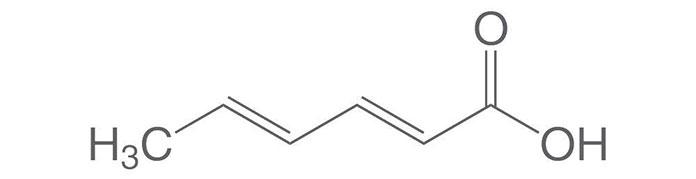Hoạt động chống vi sinh vật của acid sorbic dựa trên một số yếu tố. Trước tiên là hoạt động ức chế các loại enzyme khác nhau trong tế bào vi